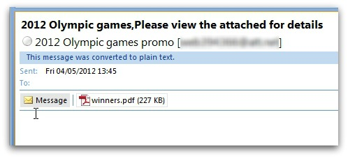 Olympic spam email