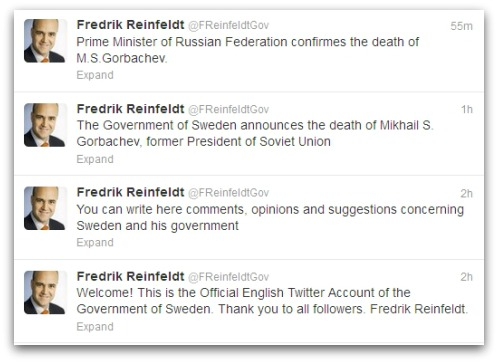 Tweets from account claiming to belong from Fredrik Reinfeldt