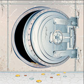 Cracked safe. Image from Shutterstock