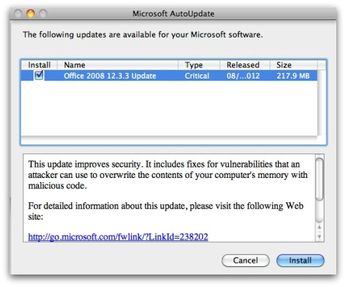 Updating Word for Mac