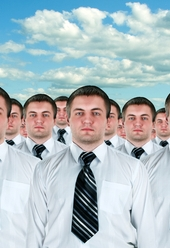 Cloned business people