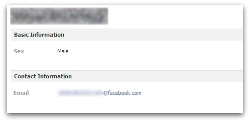 Facebook email address on user's profile