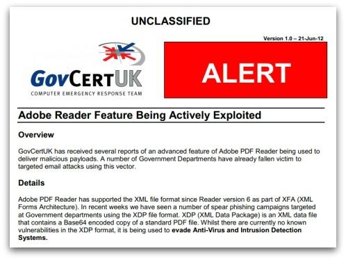 Alert from GovCertUK