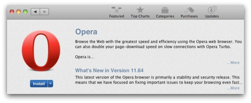 An old and insecure version of Opera is being offered in the Mac App store