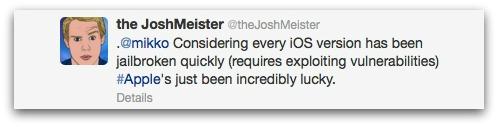Twitter reply from Josh