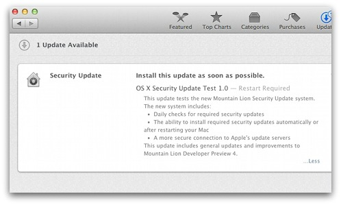 Updates to OS X Mountain Lion