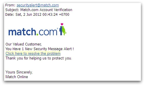 Match.com phishing email