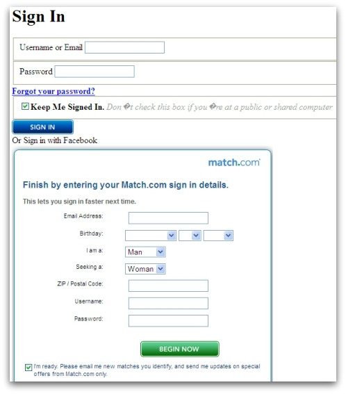 Match.com phishing website