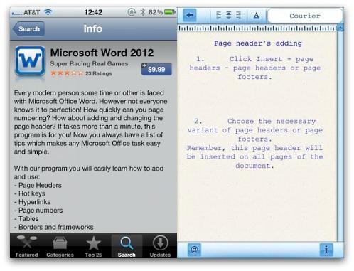 Bogus Microsoft Word 2012 app