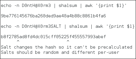 Password hash with salt example