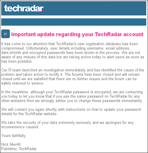 TechRadar notice
