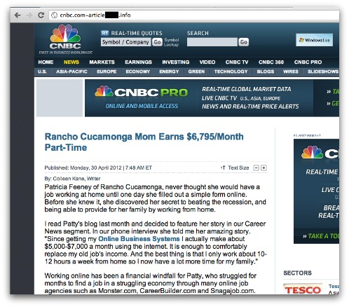 Fake CNBC news site