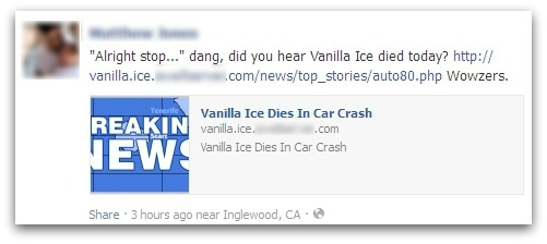 Posting on Facebook about death of Vanilla Ice
