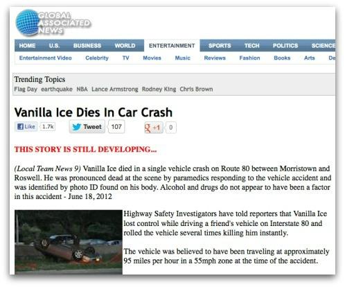 Vanilla Ice dies in car crash