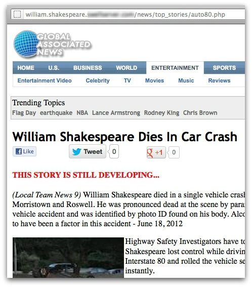 William Shakespeare death hoax