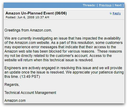 Amazon down statement, from 2008