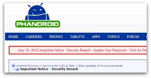 Android Forums security breach warning