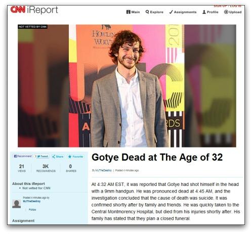 CNN iReport about Gotye's alleged death