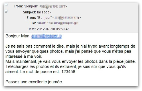 Malicious email written in quasi-French
