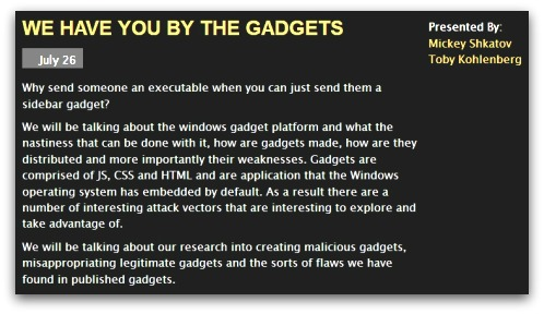 Gadgets talk at Black Hat