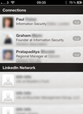 LinkedIn on an iPhone