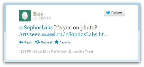Malicious tweet to @SophosLabs on Twitter