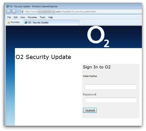 O2 phishing website