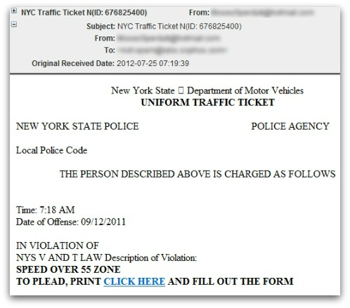 Traffic ticket malware spammed out