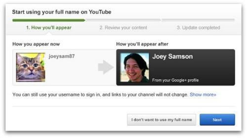 YouTube full name image courtesy of YouTube blog