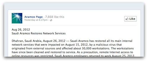 Statement from Aramco on Facebook