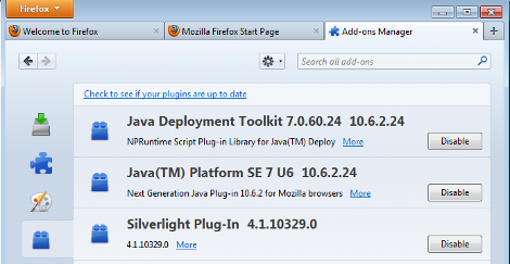 Disable Java in Firefox