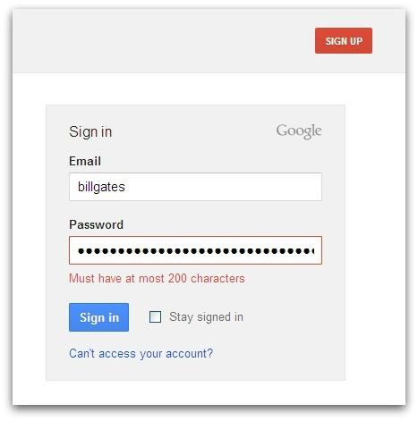 Gmail maximum password length