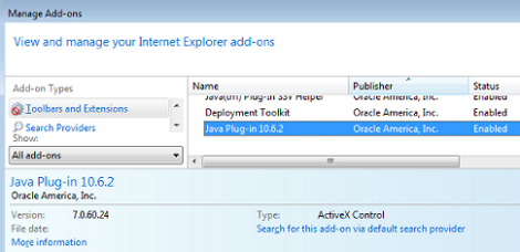 Disable IE Java plug-in