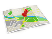 Map with pin, courtesy of Shutterstock