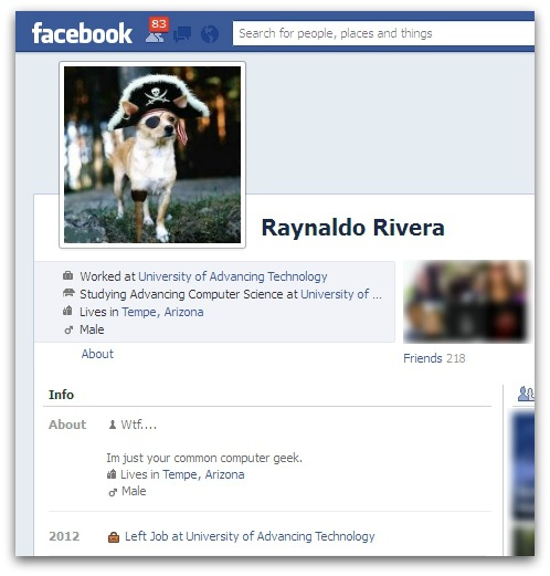 Raynaldo Rivera's Facebook account