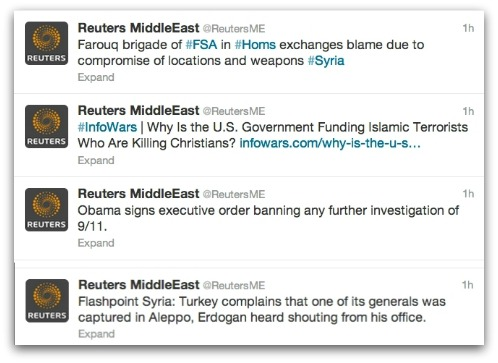Attackers posted from a Reuters Twitter account