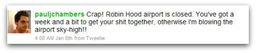 Tweet about Robin Hood airport