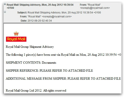 Malware email. Click for larger version