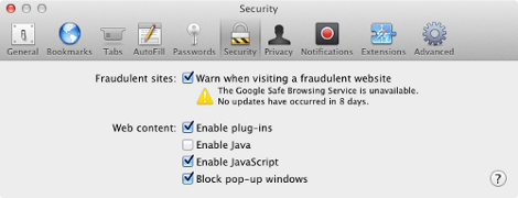 Disable Java in Safari