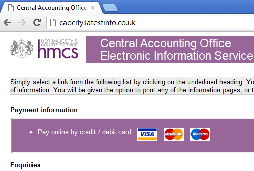 Central Accounting Office Electronic Information Service web page