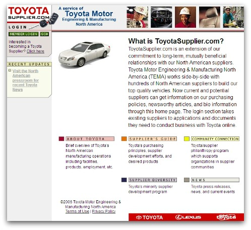 Toyotasupplier website