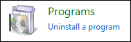 Windows 7 Programs control panel