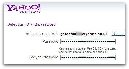 Yahoo maximum password length