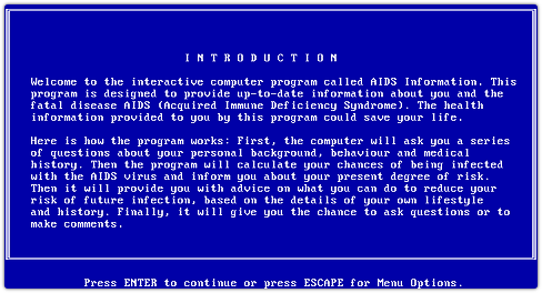 AIDS Info Trojan intro screen
