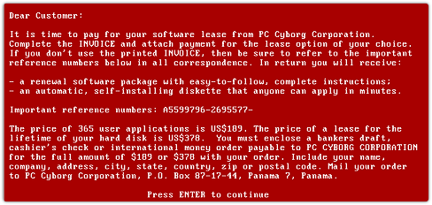 AIDS Information Trojan licence screen