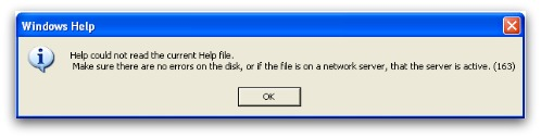 Error message from .HLP file