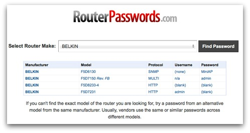 Website providing default router passwords