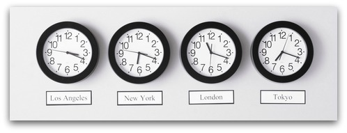 Timezone clocks. Image from Shutterstock