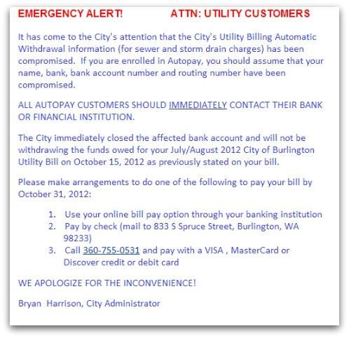 Alert posted on website