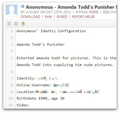 Anonymous names man they say drove Amanda Todd to suicide